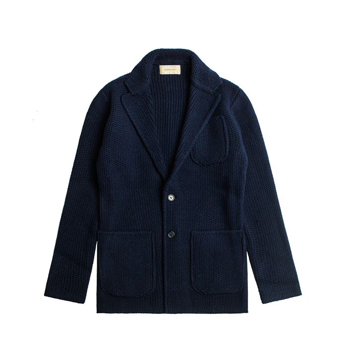 Merino Wool Knit Blazer - Navy