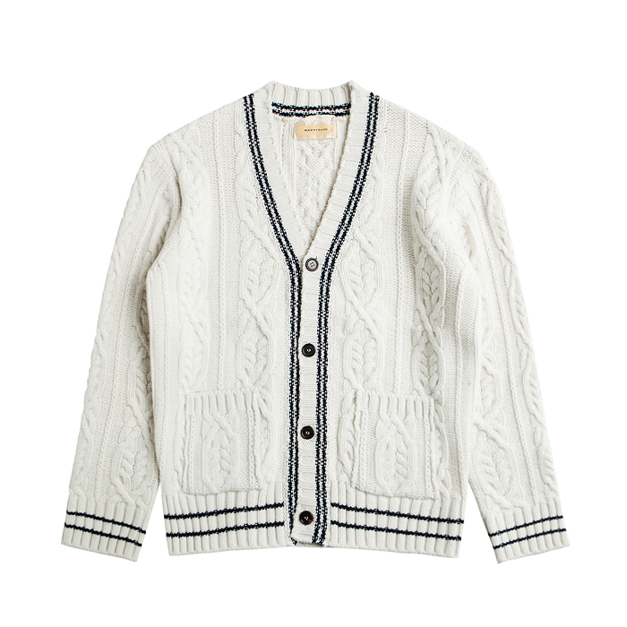 Merino Wool Cable Knit Cardigan - Ivory