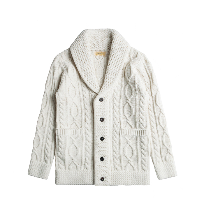 Merino Wool Shawl Collar Cardigan - Ivory