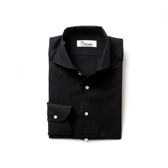 One piece Collar Linen shirts - Black