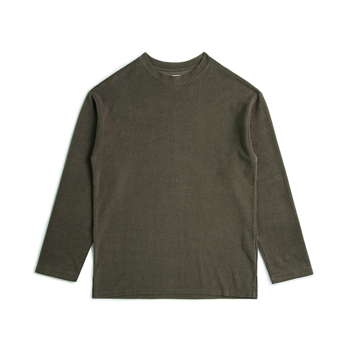 Terry Cotton Drop Shoulder T Shirt - Khaki