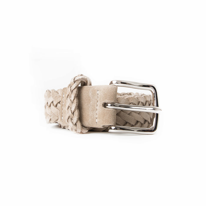 Braided Suede Belt - Beige
