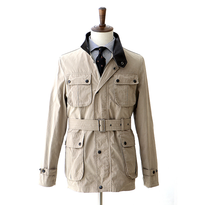 C03 Waxed Cotton Motor Jacket - Beige