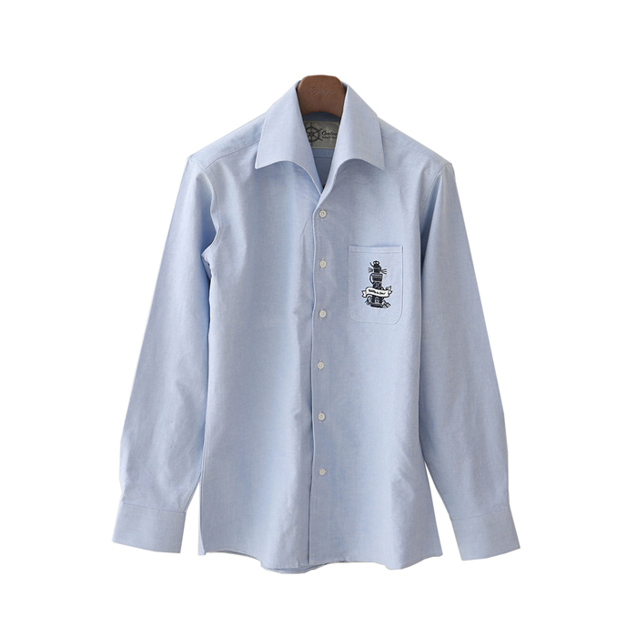 Embroidered One Piece Collar Oxford Shirt - Sky Blue