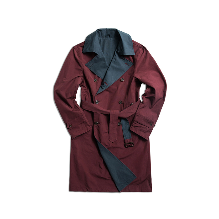Rebersible Double Trench Coat - Wine