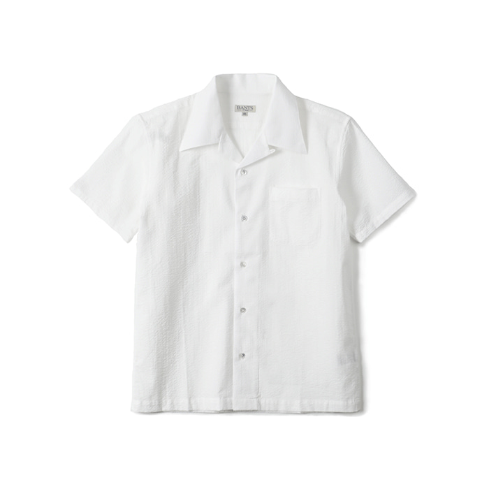GTB Seersucker Cotton Open Collar Shirt Half - White
