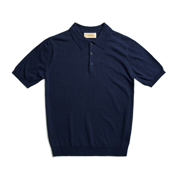 Cotton Knit Classic Polo Shirts - Navy