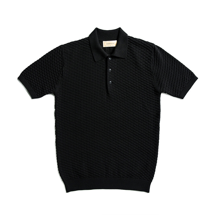 Cotton Knit Honeycomb Polo Shirts - Black