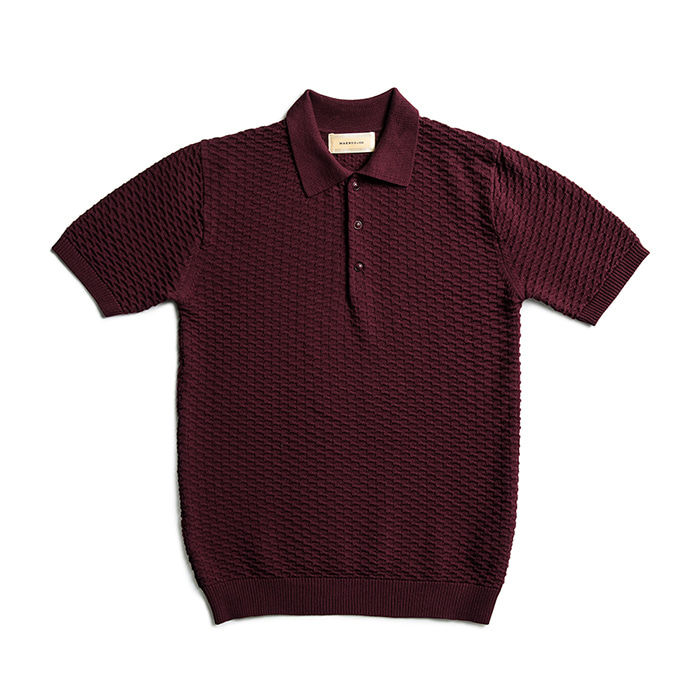 Cotton Knit Honeycomb Polo Shirts - Wine