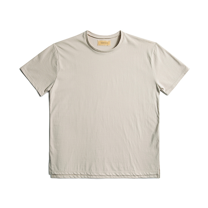 Premium Cotton Crew Neck Short Sleeve - Beige