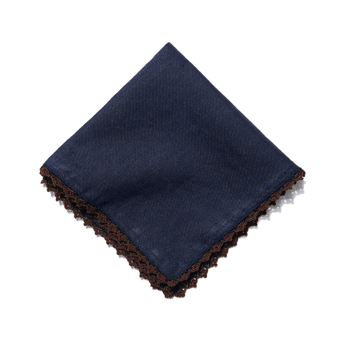 Edge Crochet Pocket Square - Navy / Brown