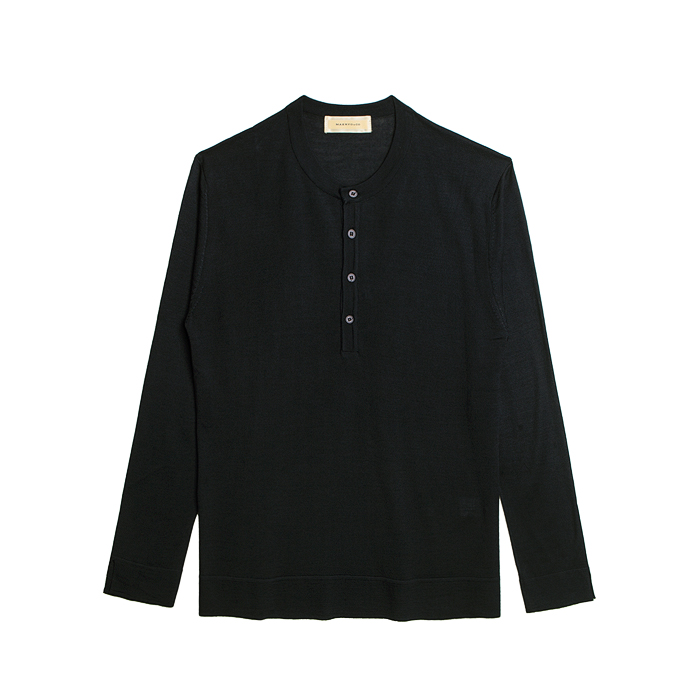 Knit Henley Neck Shirt - Black