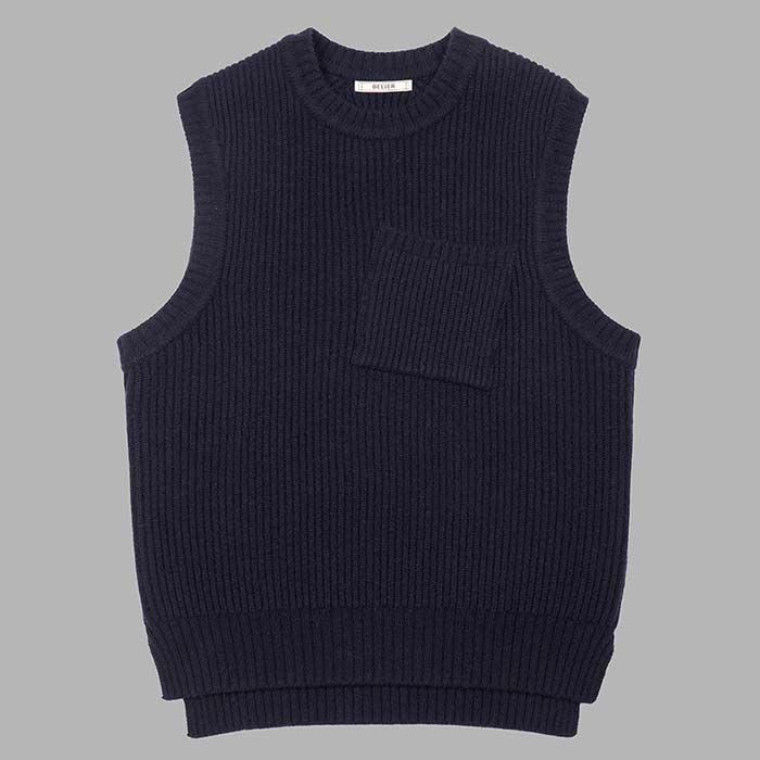 Air Wool Knitted Vest - Navy