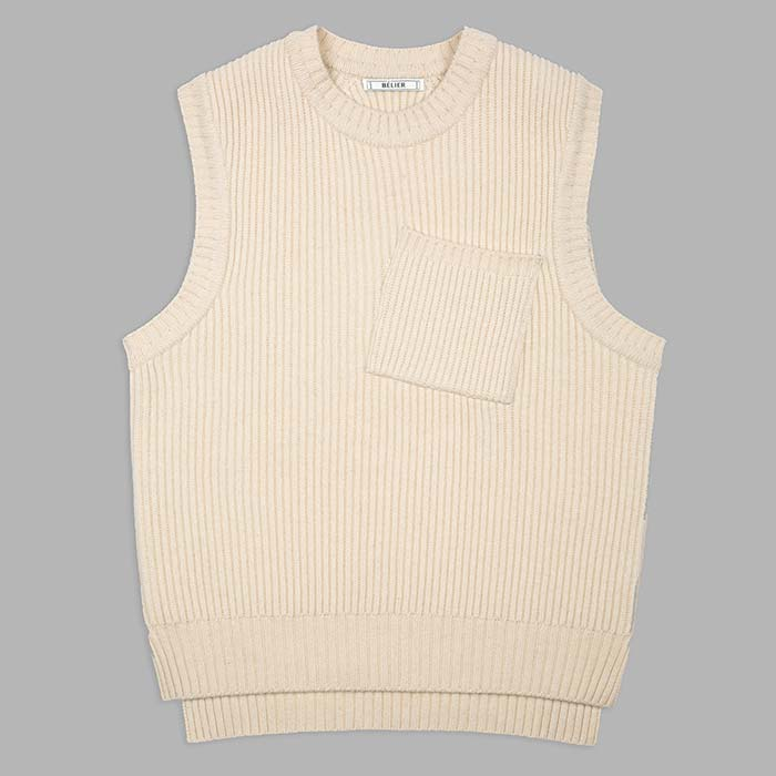Air Wool Knitted Vest - Cream