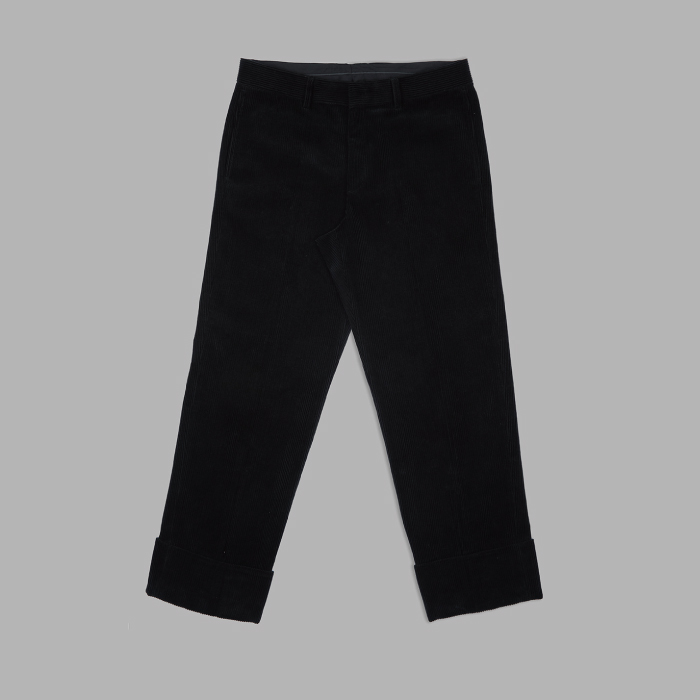 Turn Up Corduroy Set Up Trousers - Black