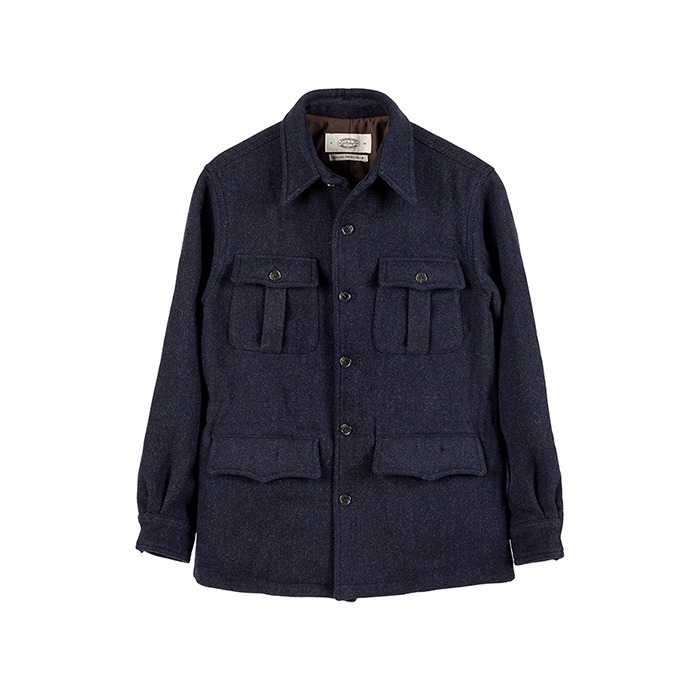 Winter Safari Jacket - Navy Herringbone