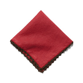 Edge Crochet Pocket Square - Red / Brown