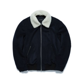 Navy Shearling Bomber Jacket - White Collar